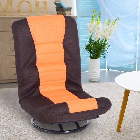 360 Degree Swivel Floor Gaming Chair Folding Video Floor Lazy Couch Floor Bed Recliner w/ 5-Position Adjustable Backrest Orange & Brown - image 1 of 7