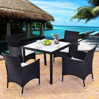 Costway 5PCS Outdoor Patio Black Rattan Table Chair Furniture Set With Seat Cushions