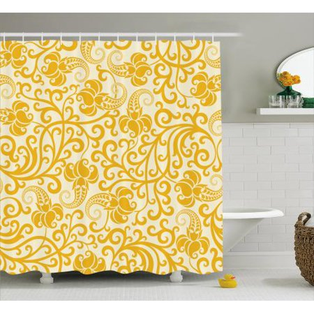 Art Nouveau Shower Curtain Arabesque Rococo Style Curved Spring Blooms Branches Leaves Boho Fabric