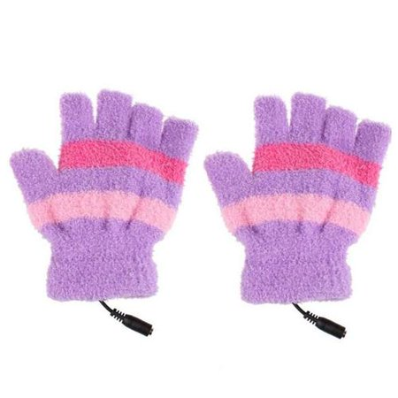 1 Pair PC/laptop USB Heated Gloves Half Finger Winter Warm Hand For Women Girls Xmas Gift ()
