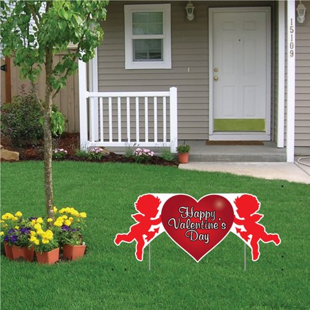 Valentine's Lawn Decoration - Happy Valentine's Day Cupid 2' x 4' Sign - Valentine Decoration For Classroom