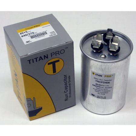TitanPro TRCFD405 HVAC Round Dual Motor Run Capacitor. 40/5 MFD/UF440/370 (Round Capacitor)