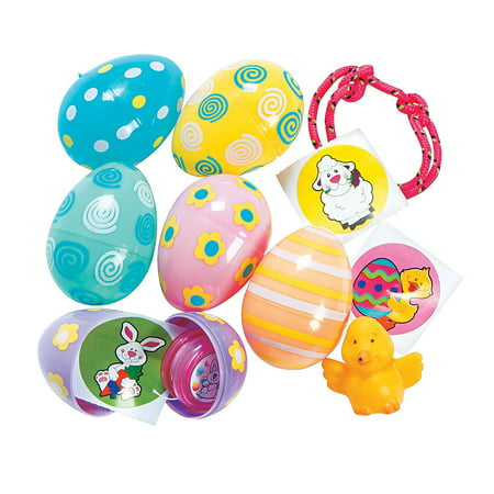 Pastel Toy Filled Prnted Eggs (2dz) for Easter - Party Supplies - Pre - Filled Party Favors - Pre - Filled Plastic Containers - Easter - 24 Pieces (Easter Parties)