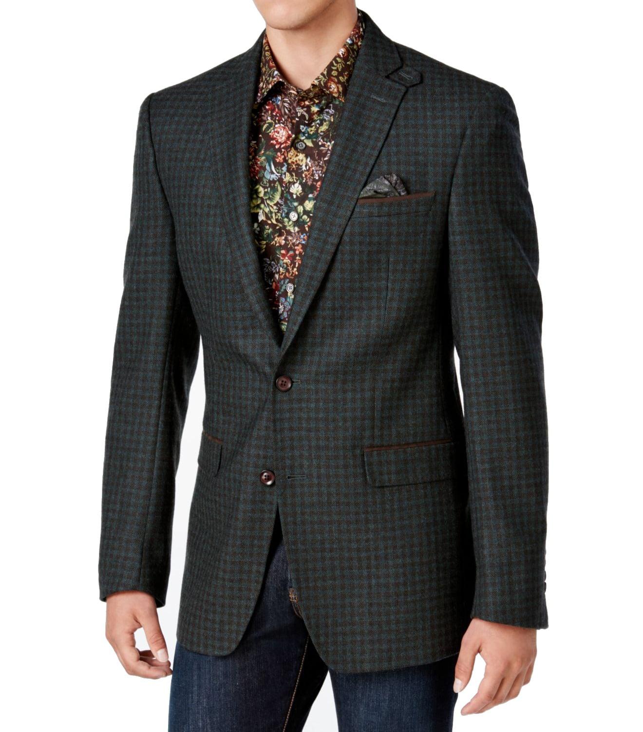 Tallia New Black Green Mens Size 36 Two Button Wool Plaid Sport Coat by Tallia