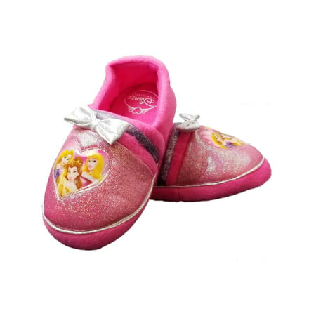 Disney Princess Pink Toddler Girls Glitter Slippers Loafer House Shoes Bell](Disney Slippers)