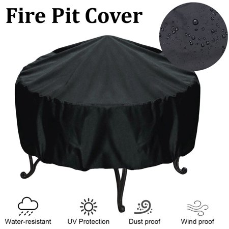 Fire Pit Cover for Round Pits - Waterproof UV Protector BBQ Cover Gas Grill Black, 44