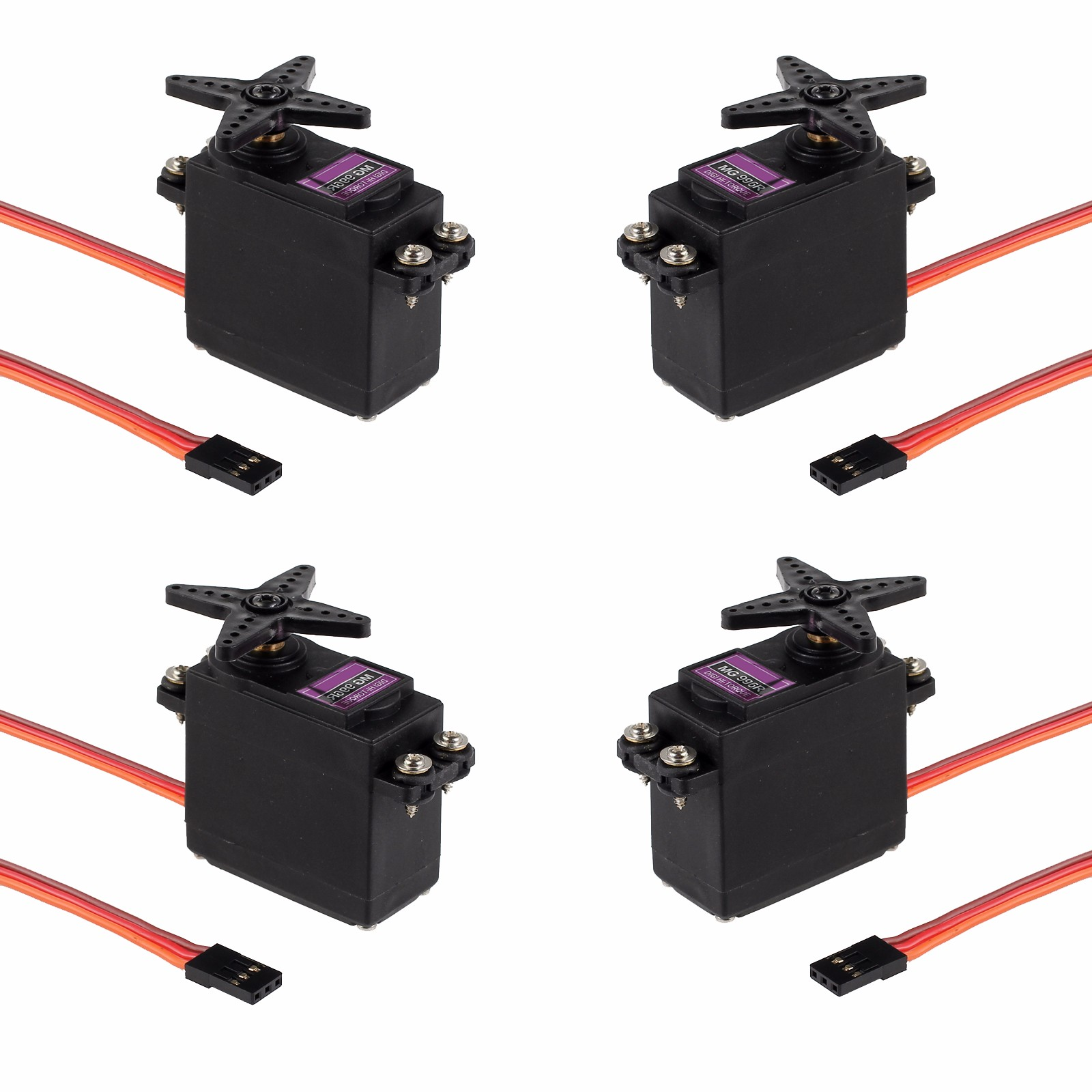 ESYNIC 4pcs MG996R Digital Torque Servo All Metal Gear Torque Servo Motor for Futaba JR 2C RC Boat Racing Car Helicopter Airplane