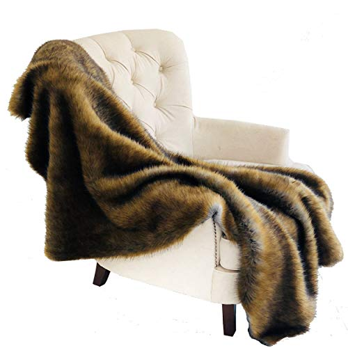 Plutus Brands  Brown and Grey Wild Grizzly Bear Faux Fur Luxury Throw