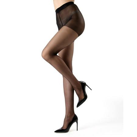 6 Pack Pantyhose - Melas Crystal Sheer Control Pantyhose - 12 Denier - 6 Pack Tall / Black K06 AS 609