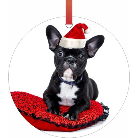 French Bulldog Christmas Ornament.French Bulldog Puppy In A Santa Claus Hat Double Sided Flat Round Shaped Ornament Xmas Tree Christmas Decor Christmas Room Decor And Ornament Yard