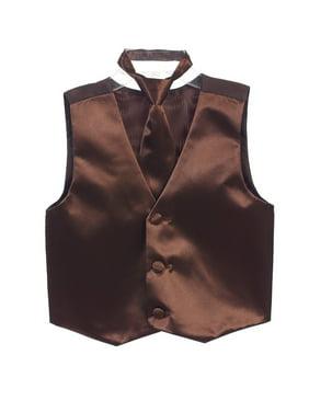 Boys Brown Three Button Satin Vest Tie 2 Pc Set