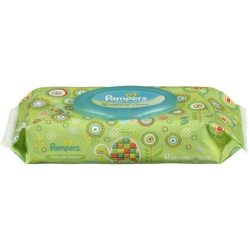 Pampers Natural Clean Wipes Travel Pack, 64 ea (Pack of 3)