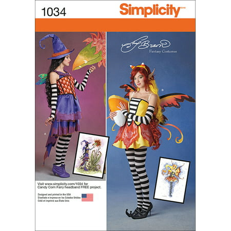 Simplicity Misses' Amy Brown Fairy Costumes, 6-8-10-12-14