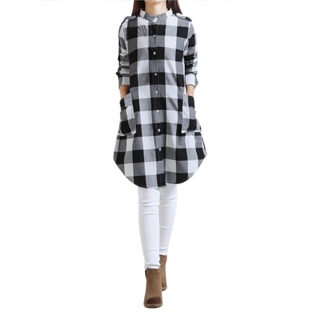 3741dca6b18 Women Classic Casual Plaid Top Long Sleeve Button Down Shirt Dress Blouse