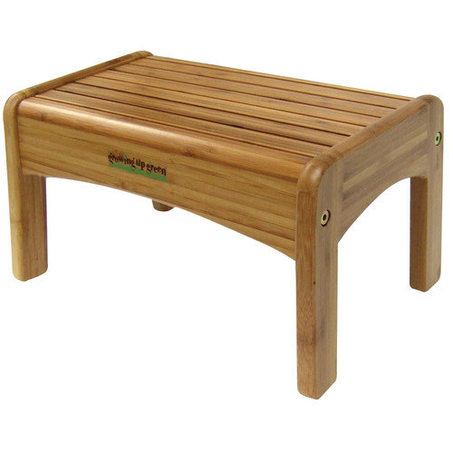 Ginsey 1 Step Wood Growing Up Green Step Stool with 200 lb