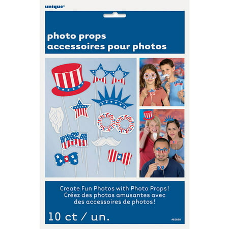 Patriotic Photo Booth Props, 10pc (1920s Photo Booth Props)