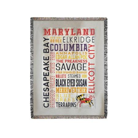 Ellicott City, Maryland - Rustic Typography - Lantern Press Artwork (60x80 Woven Chenille Yarn Blanket)