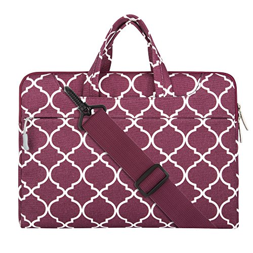Mosiso Laptop Shoulder Briefcase Bag, Quatrefoil Style Canvas Fabric Sleeve Carry Case for 11 - 11.6 Inch Laptops / MacBook Air / Acer Chromebook 11 / HP Stream 11 / Samsung Chromebook 2, Wine Red