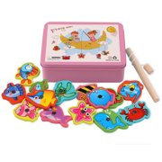 Deluxe Fishing Game Toy Set | Premium Version Fishing Set with 15 Fish+1Fishing Poles Included | Quiet Play Option for Parents for Toddlers and Kids,Pink
