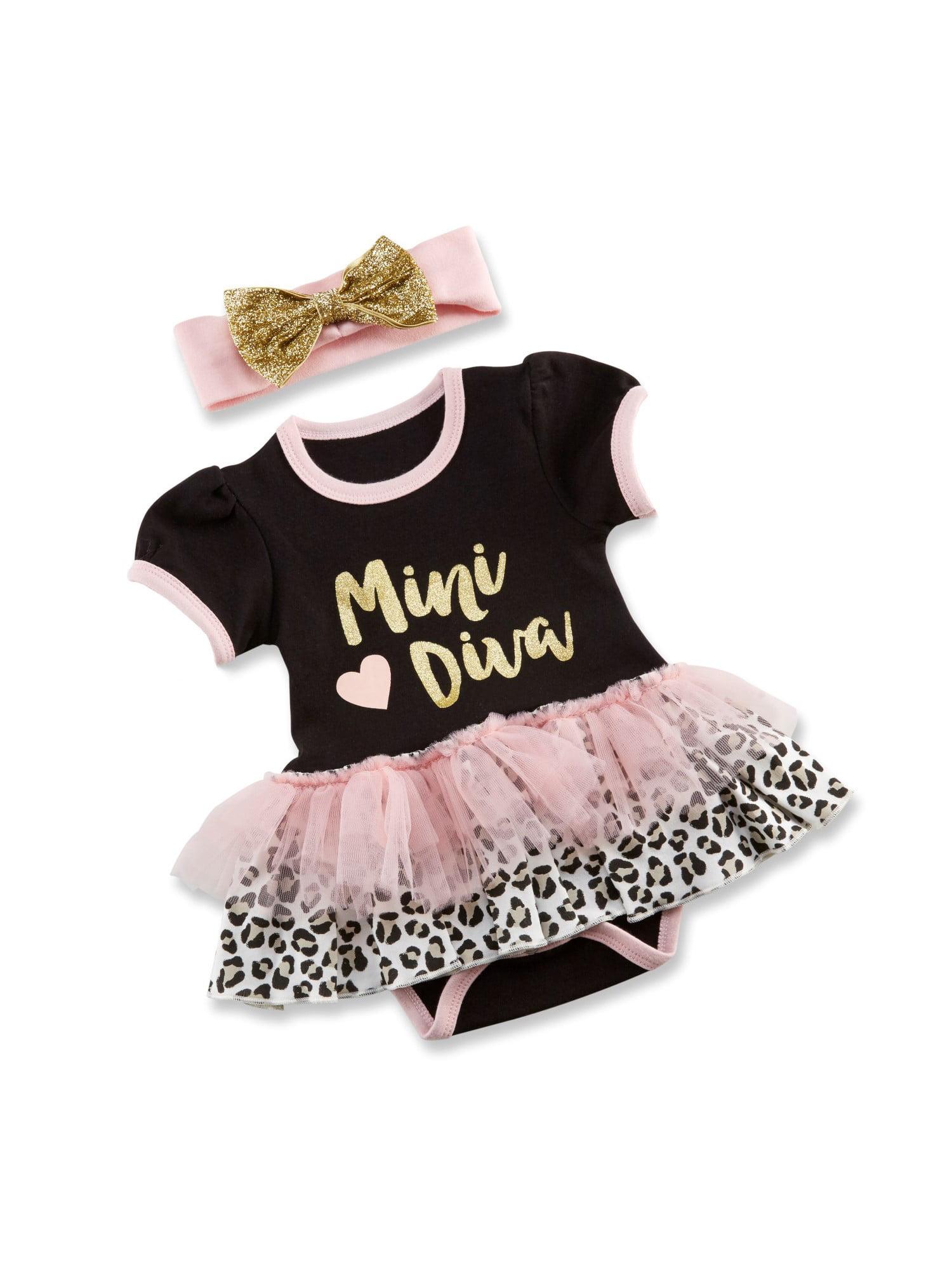 Baby Aspen Short Sleeve Dress & Headband, 2pc Outfit Set (Baby Girls) 0-6mo.