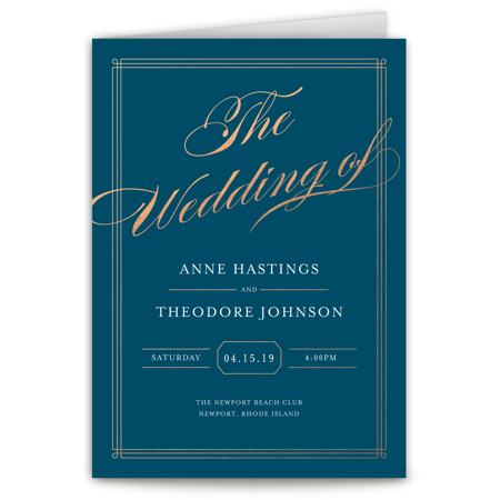Personalized Wedding Program - Elegant Lines - 5 x 7 Folded
