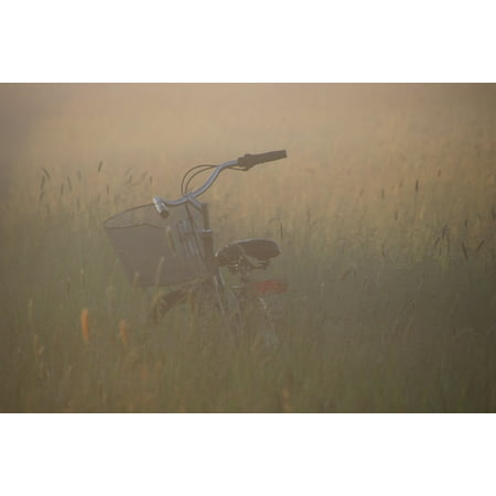 White Mood Peel (Peel-n-Stick Poster of Mood Fog Bike Old Meadow Turned Off Nature Light Poster 24x16 Adhesive Sticker Poster Print)