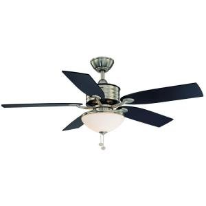 Hampton Bay Santa Cruz 52 in. Brushed Nickel with Black Accents Ceiling Fan