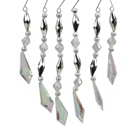 """Northlight 6ct Diamond Faceted Jewel Christmas Ornament Set 7"""" - Silver/Clear"""
