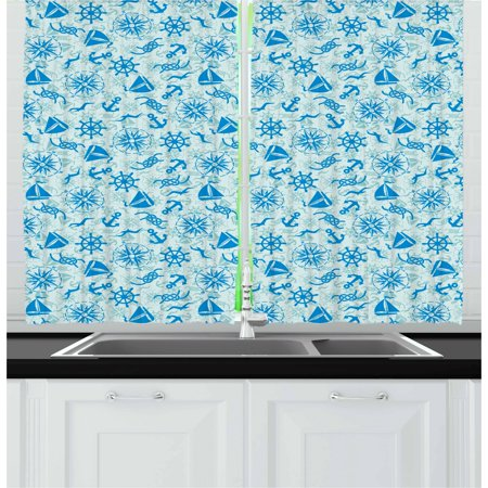Compass Curtains 2 Panels Set, Various Nautical Icons with Seagulls Anchor Sailor Knot and Helm Sailor Theme, Window Drapes for Living Room Bedroom, 55W X 39L Inches, Mint Green Blue, by Ambesonne ()