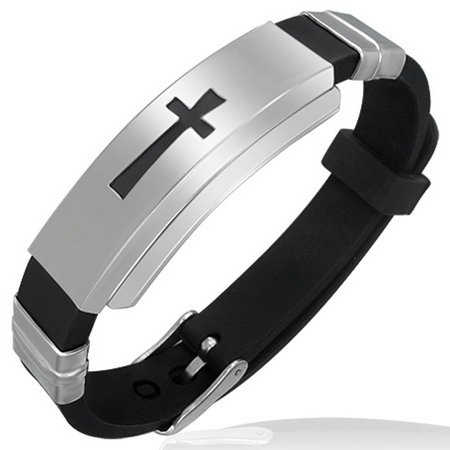 Stainless Steel Black Rubber Silicone Silver-Tone Latin Cross Religious Adjustable Mens Bracelet - Silicone Bracelets Bulk