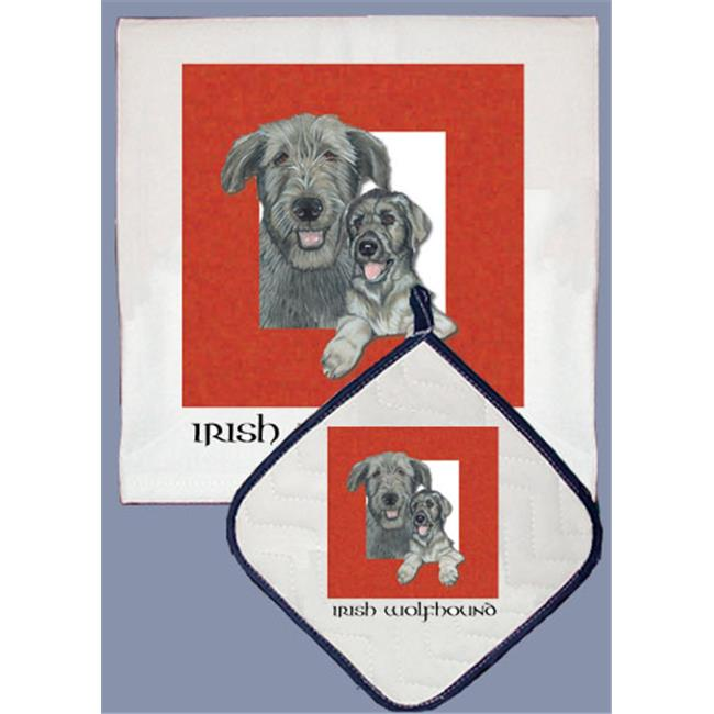 Pipsqueak Productions DP500 Dish Towel and Pot Holder Set - Irish Wolfhound
