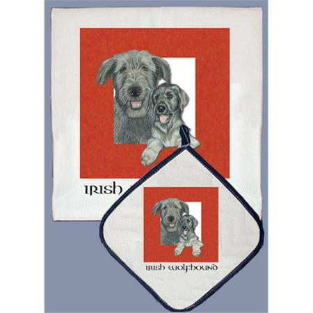 Pipsqueak Productions DP500 Dish Towel and Pot Holder Set - Irish Wolfhound