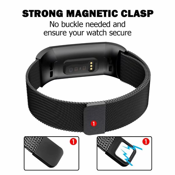 POY Metal Replacement Bands For Fitbit Charge 3 and Charge 3 SE Fitness  Activity Tracker, Milanese Loop Stainless Steel Bracelet Strap with Unique
