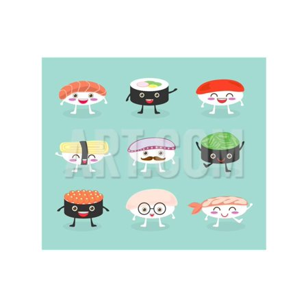 Sushi Set, Cute Sushi Set, Japanese Food, Sushi Icons, Vector Cartoon. Cartoon Characters, Vector I Print Wall Art By What's My Name - Halloween Cartoon Characters Names