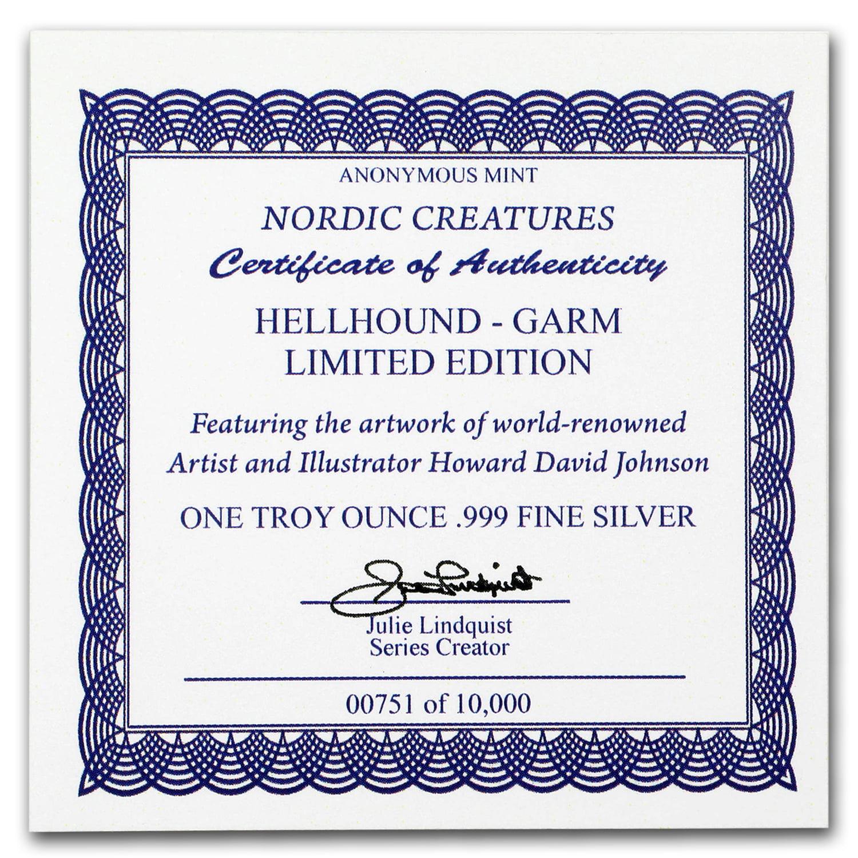 1 oz Silver Round - Nordic Creatures: Hellhound - Garm BU