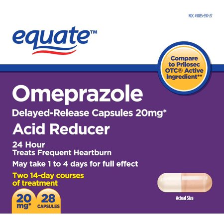 Equate Acid Reducer Omeprazole Magnesium Capsules, 20.6 mg, 28
