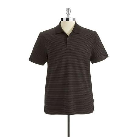 Striped Liquid Cotton Polo Shirt Black Mini Stripe Polo