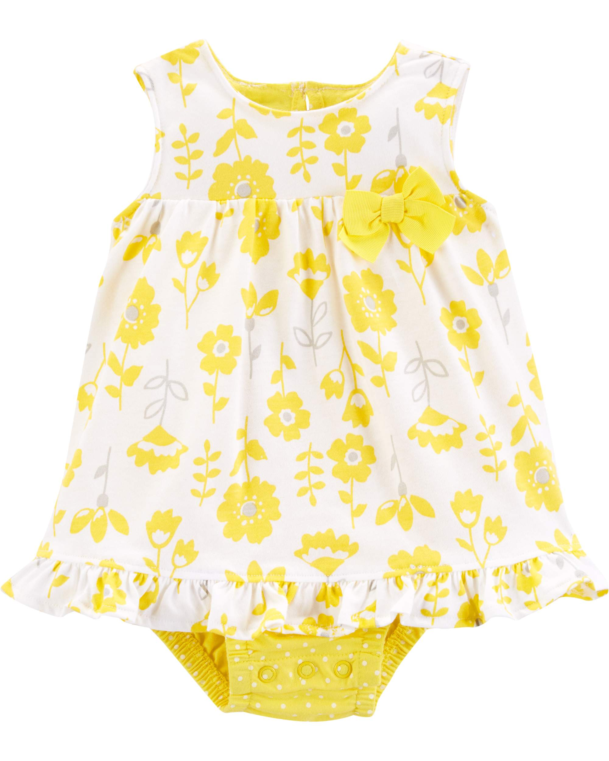 b503ac830e Child of Mine by Carter's - Tank Printed Sunsuit with Bow Appliqué, 1 Piece  (Baby Girls) - Walmart.com