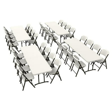 Lifetime (4) 8-Foot Fold-in-Half Tables and (32) Chairs Combo (Commercial), 80624