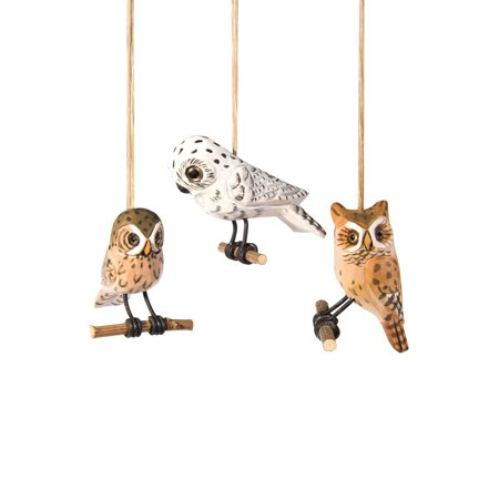 Wood Carved Woodland Owls 3 Inch Holiday Christmas Ornaments Set of 3, Measures 3 x 3 x 2 inches each By CF - Christmas Owls