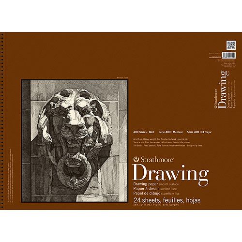 """Strathmore Smooth Surface Drawing Paper Pad, 18"""" x 24"""", 80 lb, 24 Sheets"""