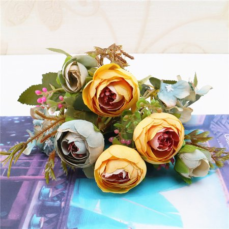 1 Bouquet Vintage Artificial Peony Silk Flowers Bouquet for