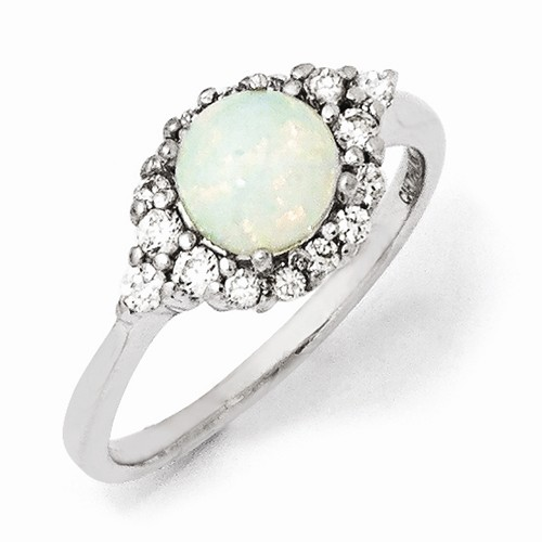 Cheryl M Sterling Silver W/ Rhodium-plated Synthetic Opal & CZ Ring