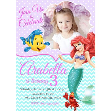 Little Mermaid Princess Ariel Birthday Party Invitation