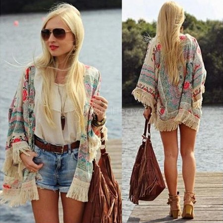 (Womens Summer Blouse Sexy Floral Shirt Loose Kimono Cardigan Casual Tops)