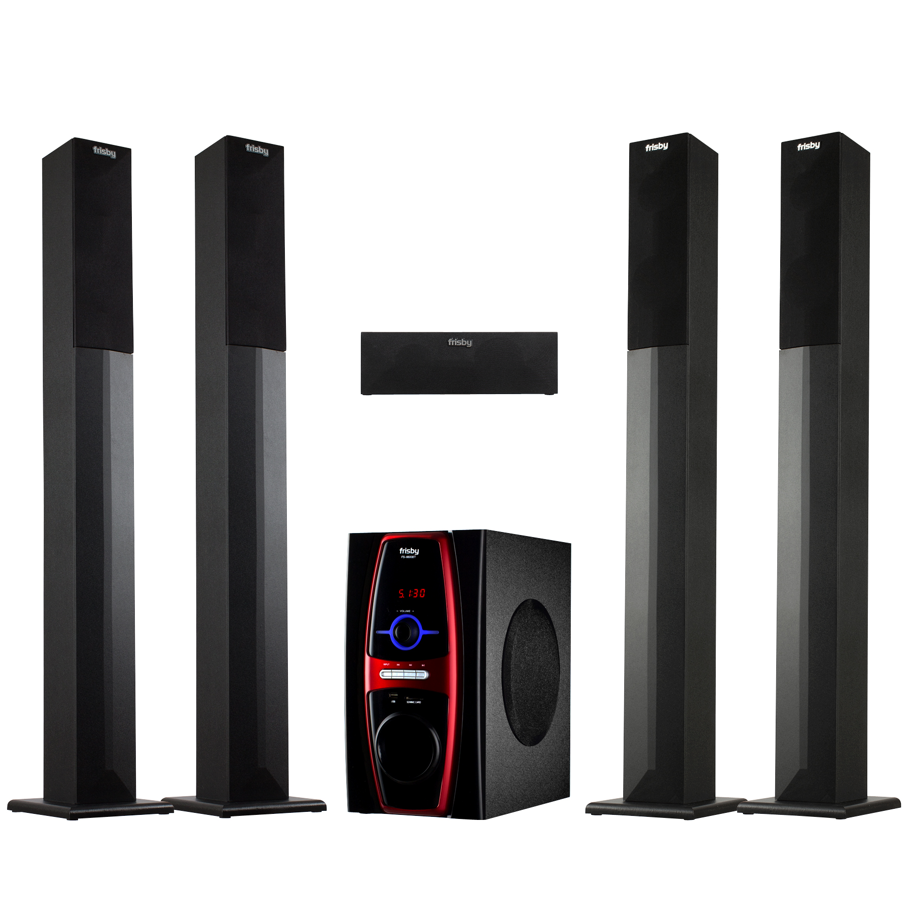 Frisby FS-6600BT 5.1 Surround Sound Home Theater Tower Speaker System with Bluetooth USB SD & Remote Control by Frisby