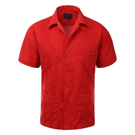 Men's Guayabera Embroidered Cuban Beach Wedding Short Sleeve Button up Casual Dress Shirt Red