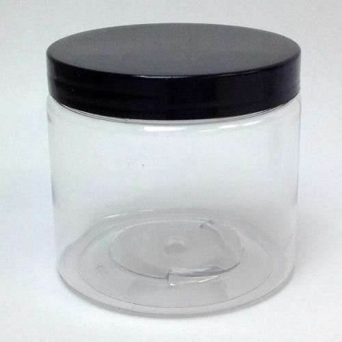 16 Oz Pet Plastic Jar W Black Lid Per Each Walmart Com