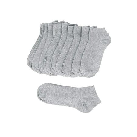 Unique-Bargains Men's Elastic Cuffs Stretch Short Cut Textured Sole Socks 10 Pairs