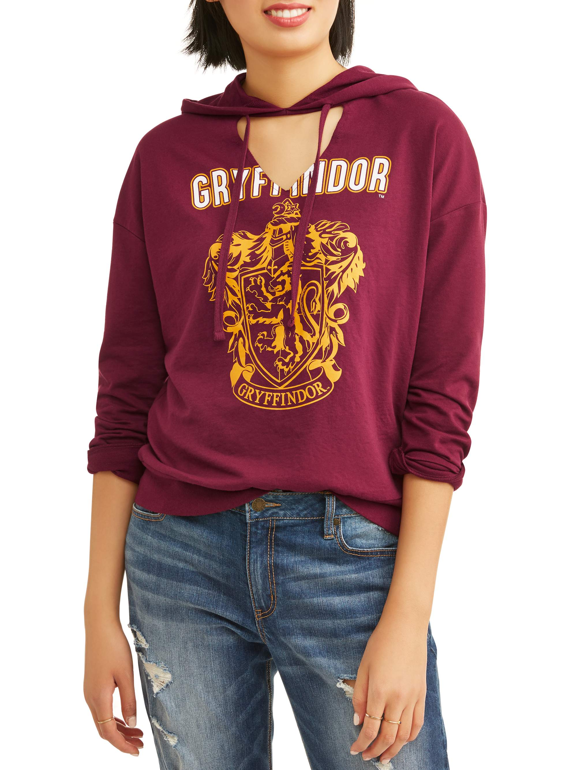 Juniors' Graphic French Terry Cut Out Pullover Hoodie